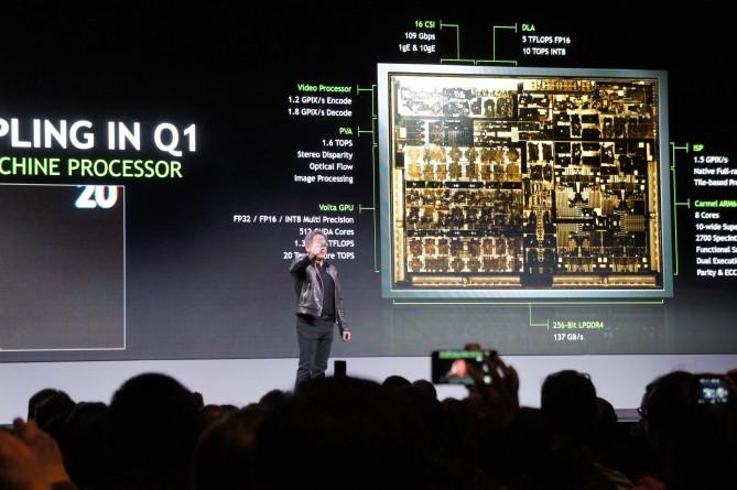 엔비디아의 자비에 칩. 1년 전 발표한 드라이브PX2와 비슷한 성능을 내면서 크기와 전력 소비량을 줄였다. (사진=라스베이거스 최호섭)